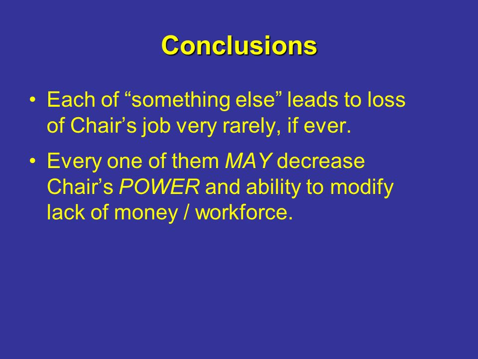 Conclusions Each of something else leads to loss of Chairs job very rarely, if ever.