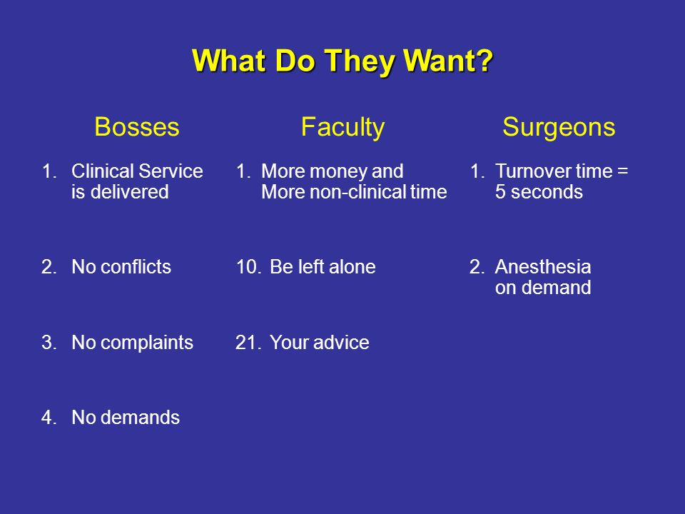 1.Clinical Service is delivered 2.No conflicts 3.No complaints 4.No demands What Do They Want.
