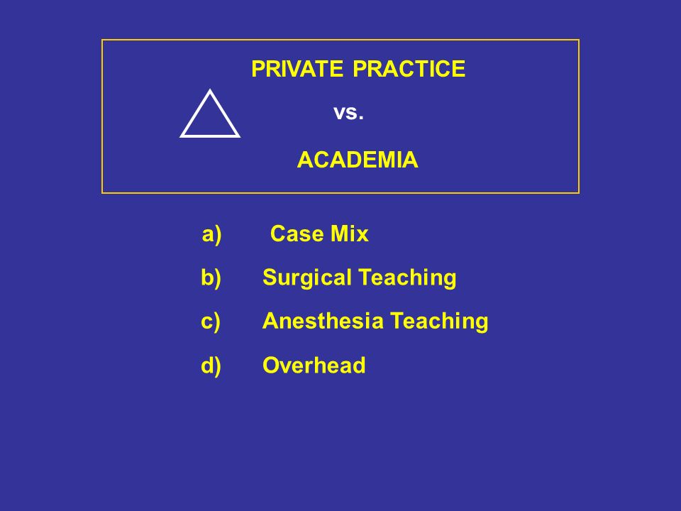 PRIVATE PRACTICE vs. ACADEMIA a)Case Mix b)Surgical Teaching c)Anesthesia Teaching d)Overhead