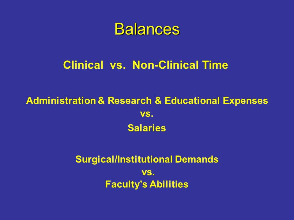 Balances Clinical vs. Non-Clinical Time Administration & Research & Educational Expenses vs.