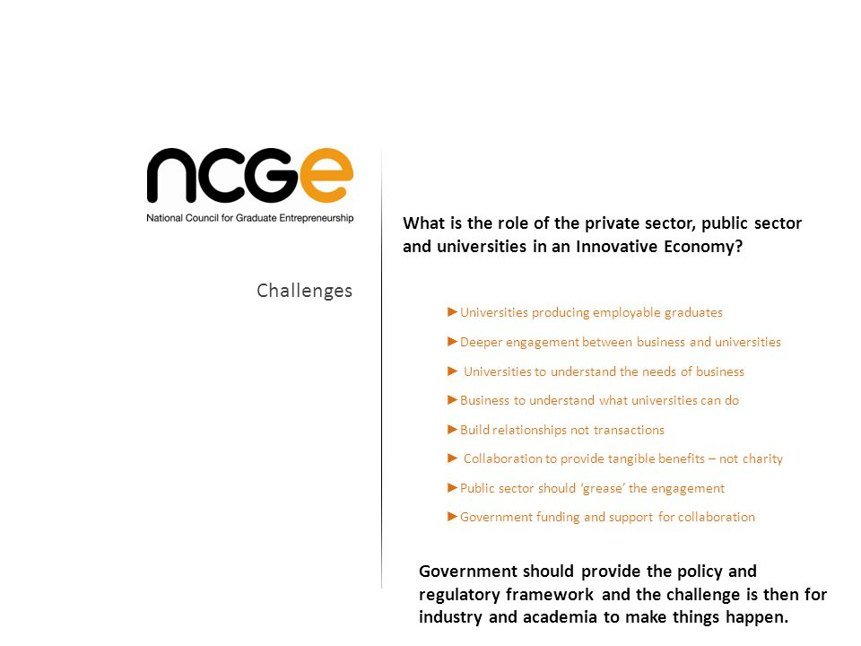 What is the role of the private sector, public sector and universities in an Innovative Economy.