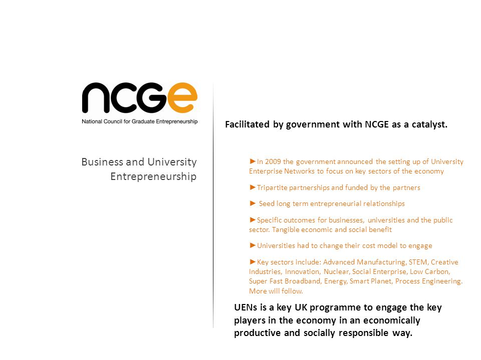 Facilitated by government with NCGE as a catalyst.