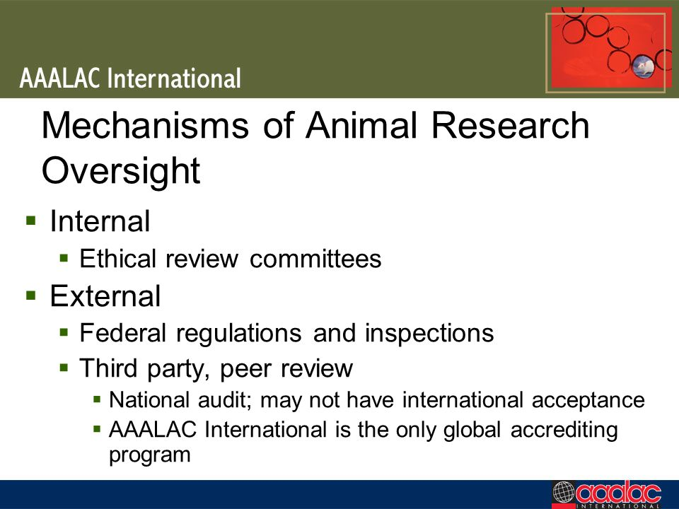 Mechanisms of Animal Research Oversight Internal Ethical review committees External Federal regulations and inspections Third party, peer review National audit; may not have international acceptance AAALAC International is the only global accrediting program
