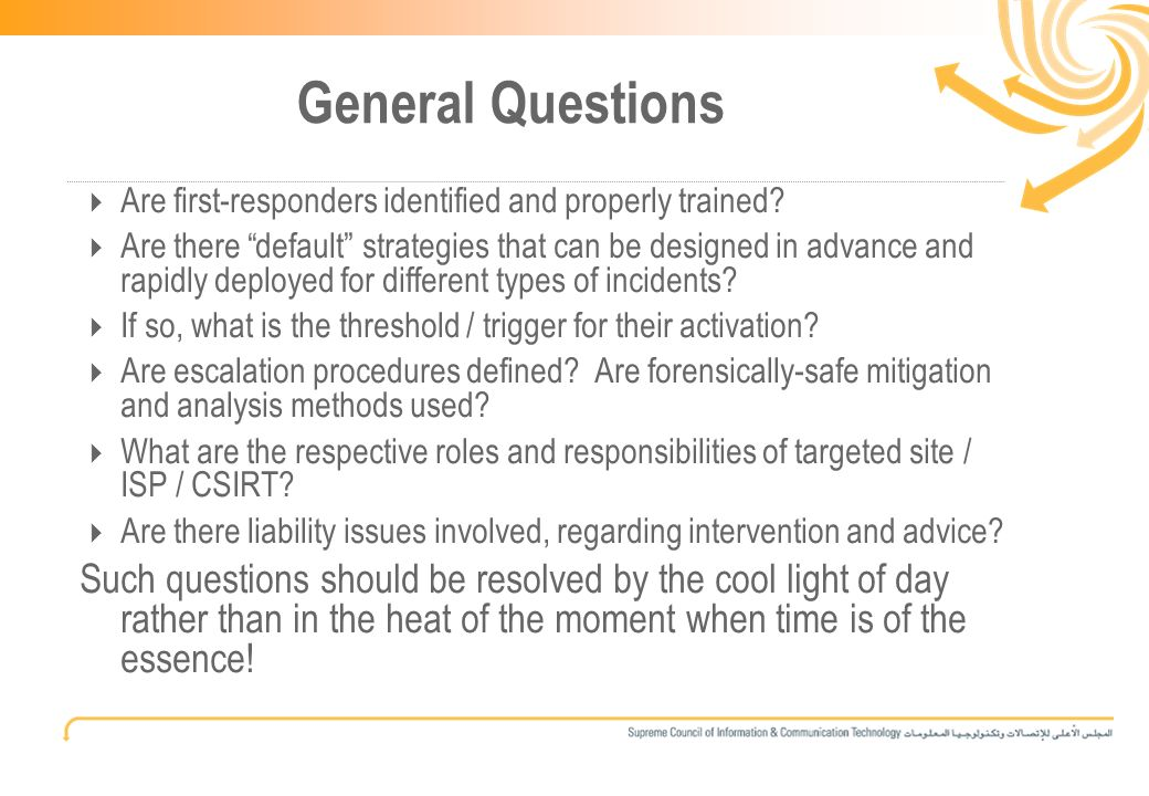 13 General Questions Are first-responders identified and properly trained.
