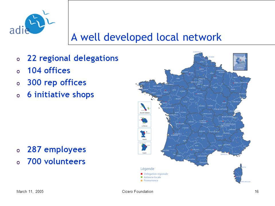 March 11, 2005Cicero Foundation16 A well developed local network o 22 regional delegations o 104 offices o 300 rep offices o 6 initiative shops o 287 employees o 700 volunteers