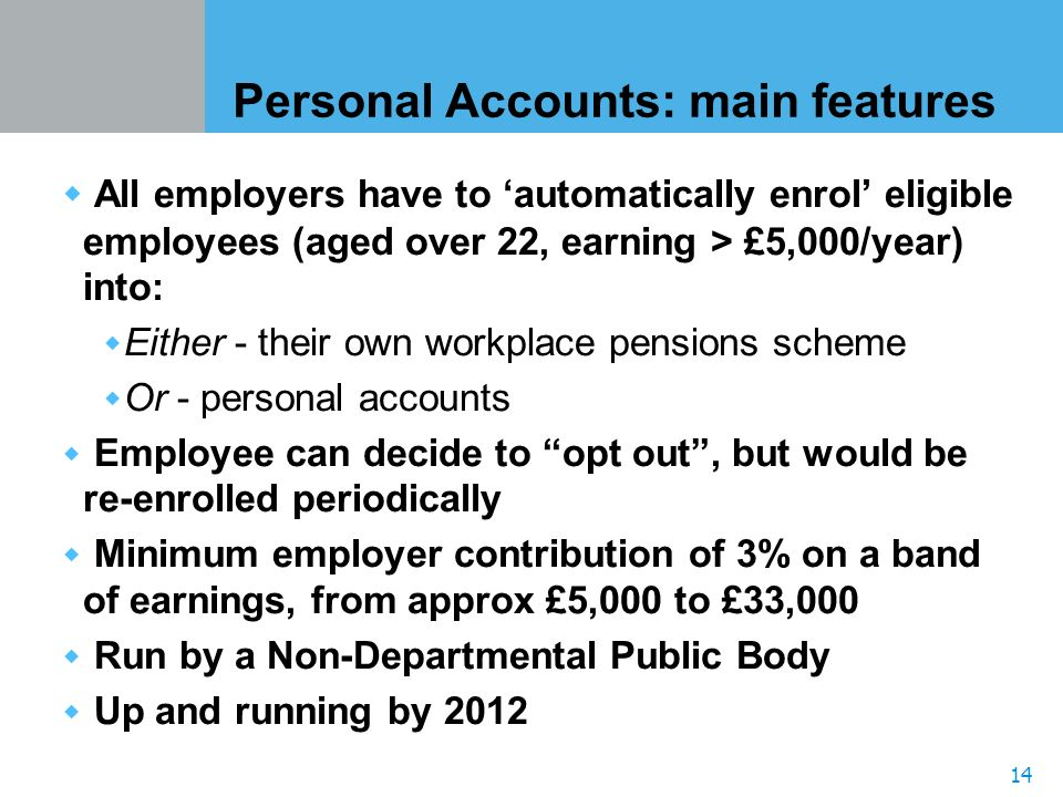 14 Personal Accounts: main features All employers have to automatically enrol eligible employees (aged over 22, earning > £5,000/year) into: Either - their own workplace pensions scheme Or - personal accounts Employee can decide to opt out, but would be re-enrolled periodically Minimum employer contribution of 3% on a band of earnings, from approx £5,000 to £33,000 Run by a Non-Departmental Public Body Up and running by 2012