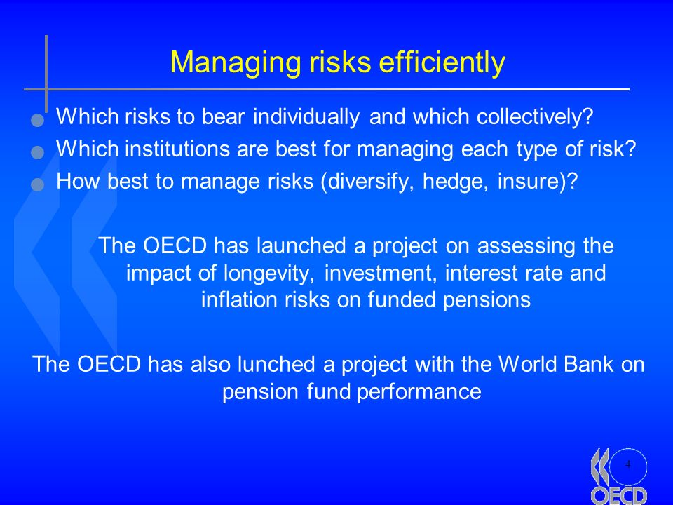 4 Managing risks efficiently Which risks to bear individually and which collectively.