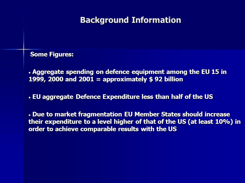 Background Information Some Figures: Some Figures: Aggregate spending on defence equipment among the EU 15 in 1999, 2000 and 2001 = approximately $ 92 billion Aggregate spending on defence equipment among the EU 15 in 1999, 2000 and 2001 = approximately $ 92 billion EU aggregate Defence Expenditure less than half of the US EU aggregate Defence Expenditure less than half of the US Due to market fragmentation EU Member States should increase their expenditure to a level higher of that of the US (at least 10%) in order to achieve comparable results with the US Due to market fragmentation EU Member States should increase their expenditure to a level higher of that of the US (at least 10%) in order to achieve comparable results with the US