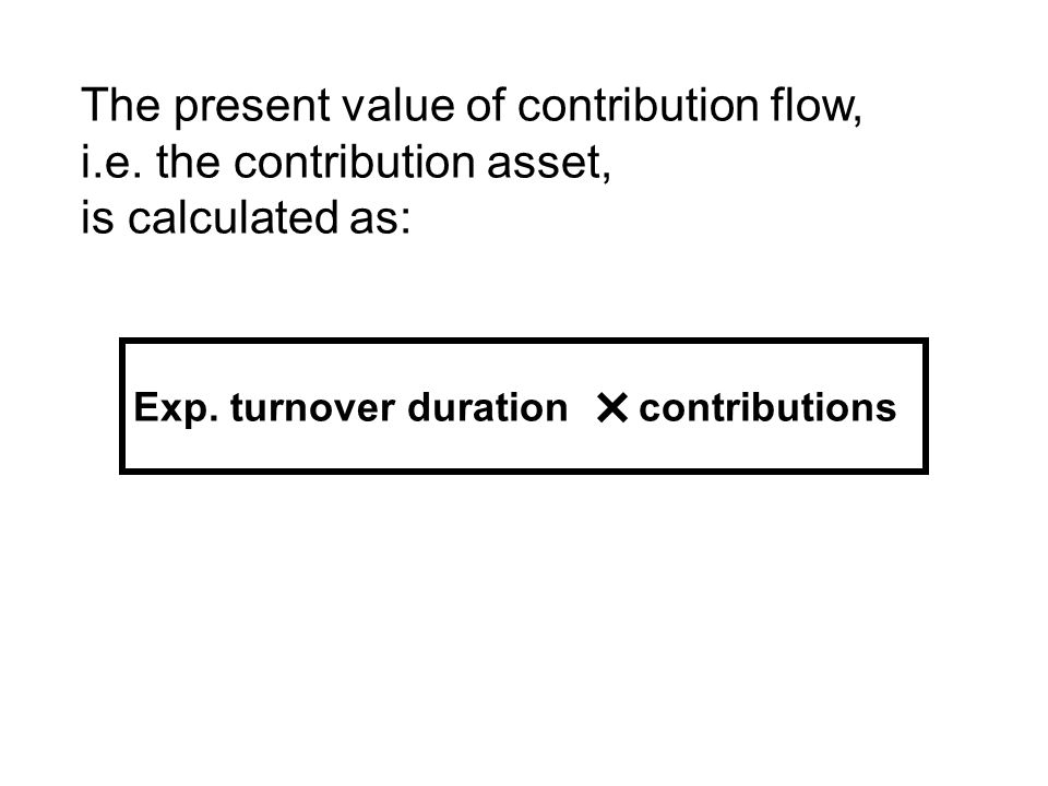 Exp. turnover duration contributions The present value of contribution flow, i.e.