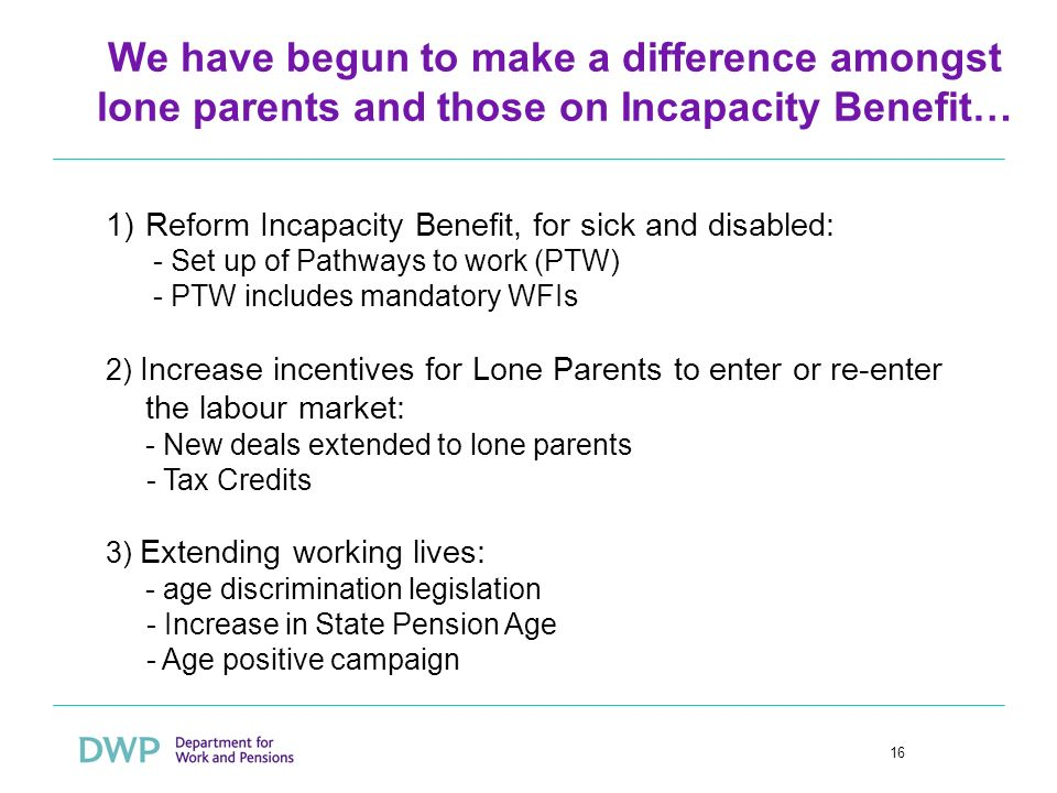 16 We have begun to make a difference amongst lone parents and those on Incapacity Benefit… 1)Reform Incapacity Benefit, for sick and disabled: - Set up of Pathways to work (PTW) - PTW includes mandatory WFIs 2) Increase incentives for Lone Parents to enter or re-enter the labour market: - New deals extended to lone parents - Tax Credits 3) Extending working lives: - age discrimination legislation - Increase in State Pension Age - Age positive campaign