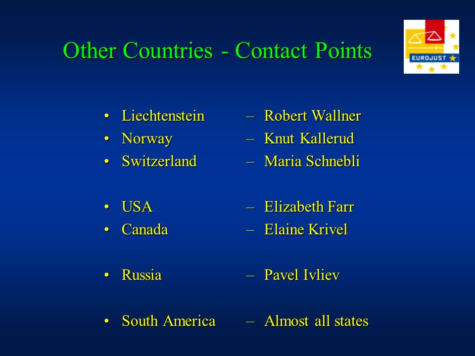 Other Countries - Contact Points LiechtensteinLiechtenstein NorwayNorway SwitzerlandSwitzerland USAUSA CanadaCanada RussiaRussia South AmericaSouth America –Robert Wallner –Knut Kallerud –Maria Schnebli –Elizabeth Farr –Elaine Krivel –Pavel Ivliev –Almost all states