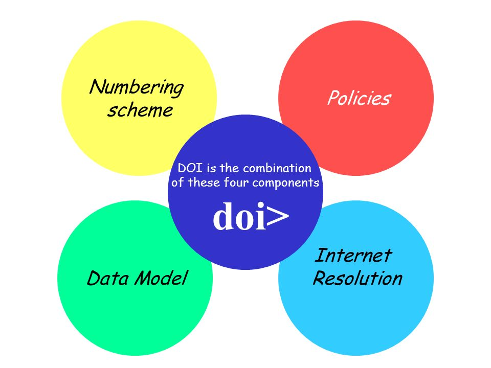 Data Model Internet Resolution Numbering scheme Policies DOI is the combination of these four components doi>