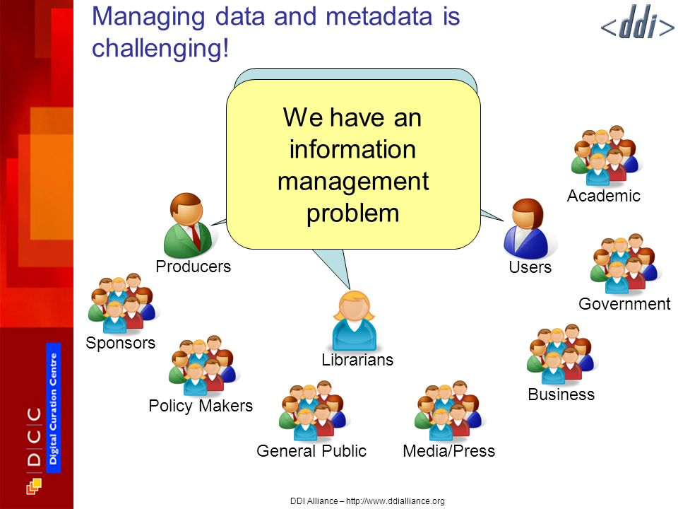 DDI Alliance – http://www.ddialliance.org Managing data and metadata is challenging.