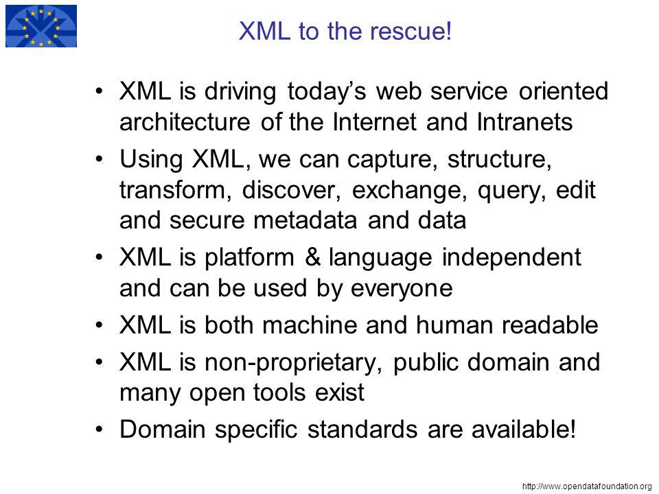 http://www.opendatafoundation.org XML to the rescue.