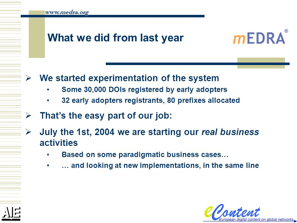 What we did from last year We started experimentation of the system Some 30,000 DOIs registered by early adopters 32 early adopters registrants, 80 prefixes allocated Thats the easy part of our job: July the 1st, 2004 we are starting our real business activities Based on some paradigmatic business cases… … and looking at new implementations, in the same line www.medra.org