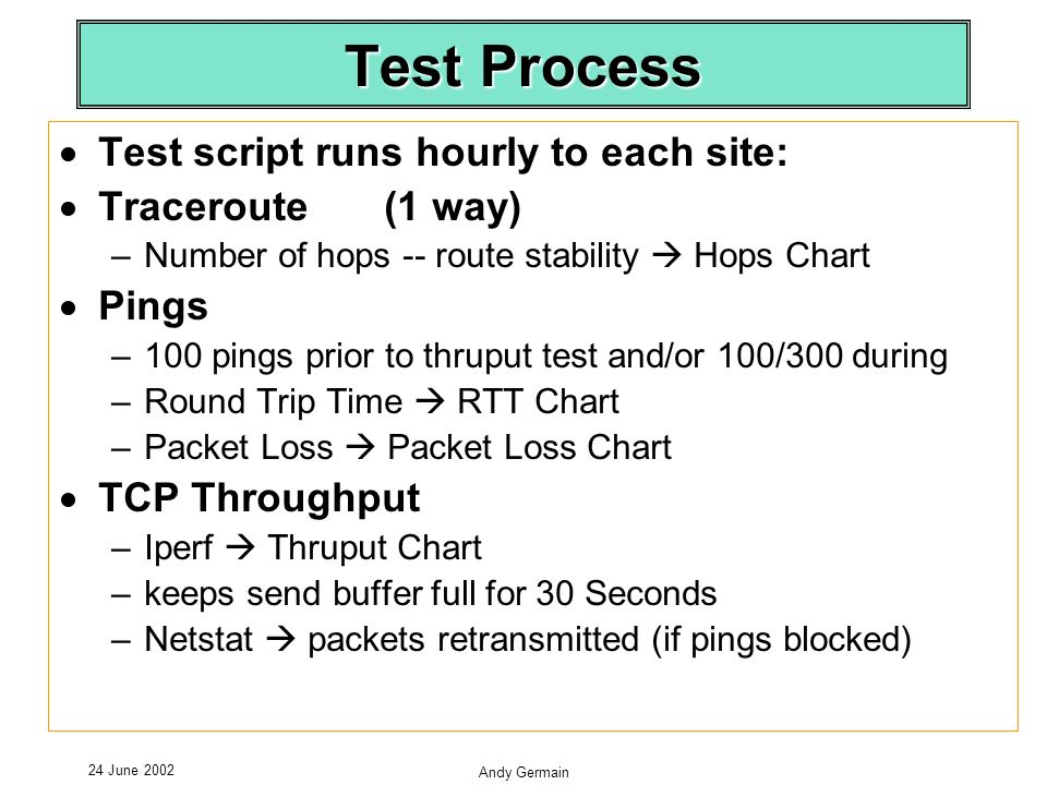 24 June 2002 Andy Germain Test Process Test script runs hourly to each site: Traceroute (1 way) –Number of hops -- route stability Hops Chart Pings –100 pings prior to thruput test and/or 100/300 during –Round Trip Time RTT Chart –Packet Loss Packet Loss Chart TCP Throughput –Iperf Thruput Chart –keeps send buffer full for 30 Seconds –Netstat packets retransmitted (if pings blocked)