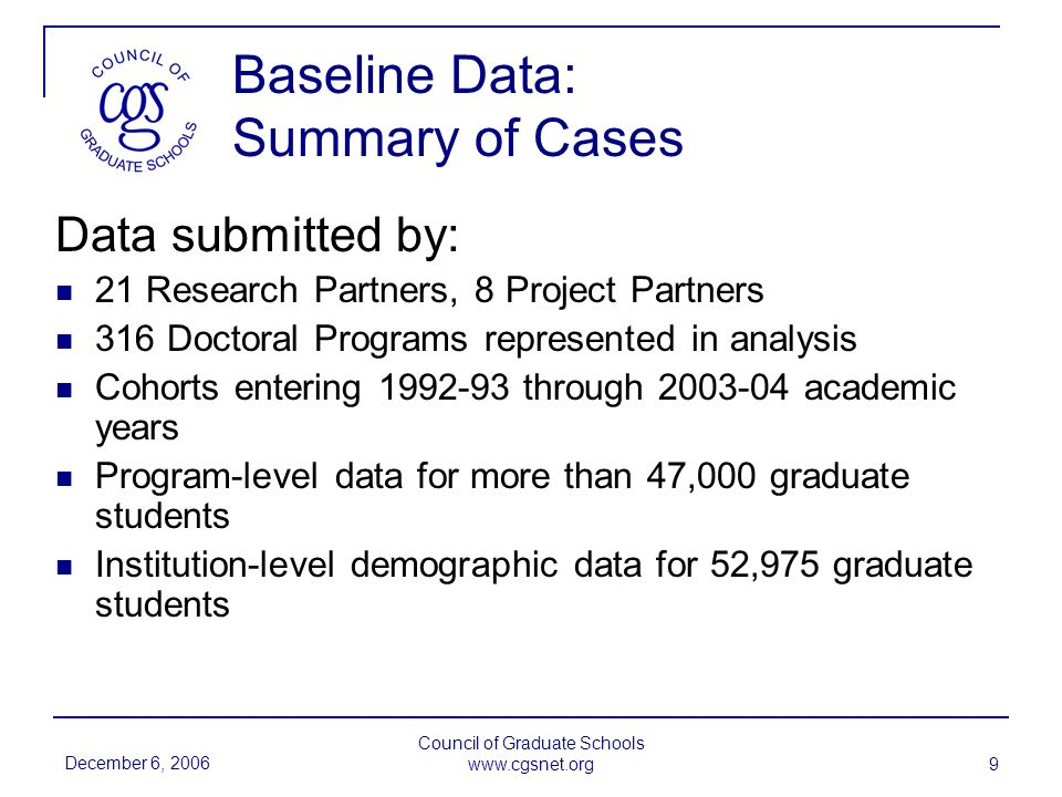 December 6, 2006 Council of Graduate Schools www.cgsnet.org 9 Baseline Data: Summary of Cases Data submitted by: 21 Research Partners, 8 Project Partners 316 Doctoral Programs represented in analysis Cohorts entering 1992-93 through 2003-04 academic years Program-level data for more than 47,000 graduate students Institution-level demographic data for 52,975 graduate students