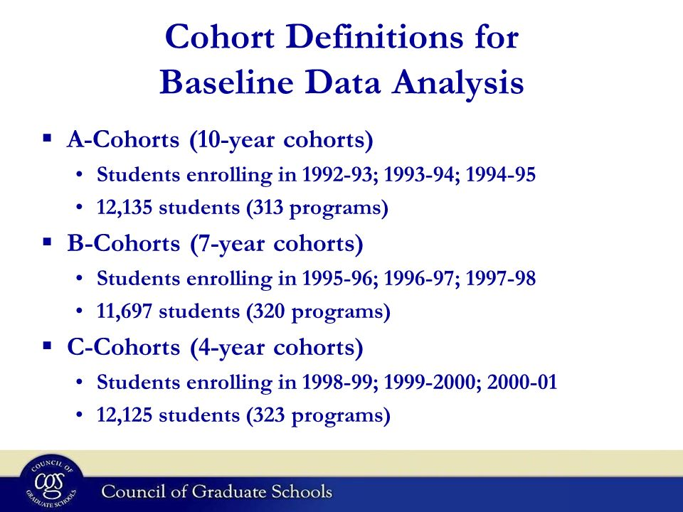 Cohort Definitions for Baseline Data Analysis A-Cohorts (10-year cohorts) Students enrolling in 1992-93; 1993-94; 1994-95 12,135 students (313 programs) B-Cohorts (7-year cohorts) Students enrolling in 1995-96; 1996-97; 1997-98 11,697 students (320 programs) C-Cohorts (4-year cohorts) Students enrolling in 1998-99; 1999-2000; 2000-01 12,125 students (323 programs)