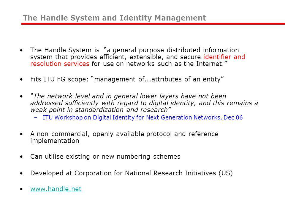 The Handle System is a general purpose distributed information system that provides efficient, extensible, and secure identifier and resolution services for use on networks such as the Internet.