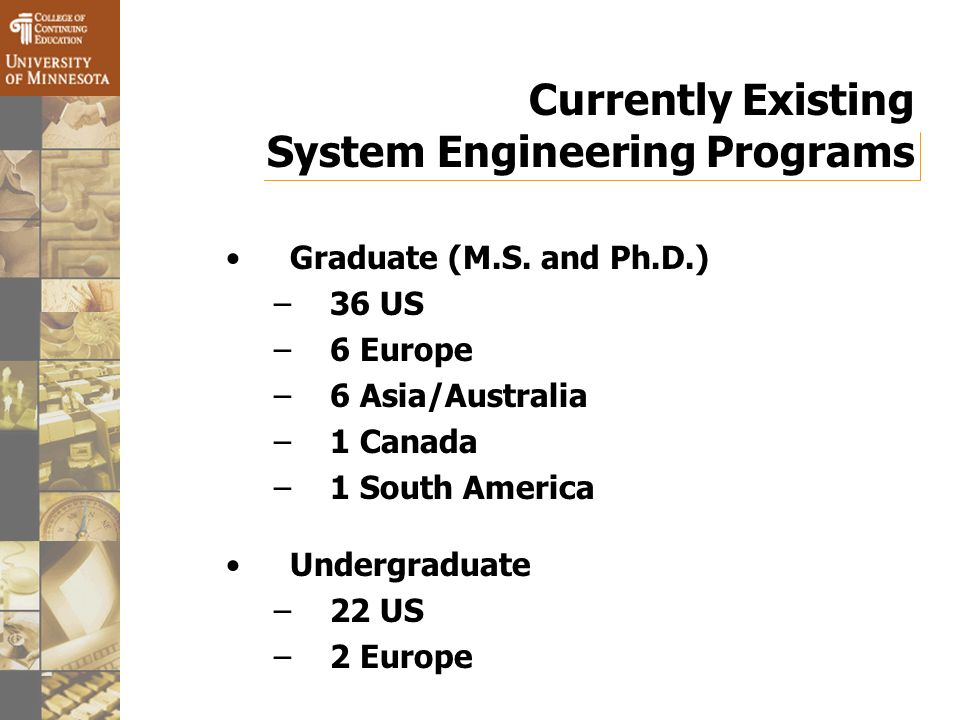 Currently Existing System Engineering Programs Graduate (M.S.