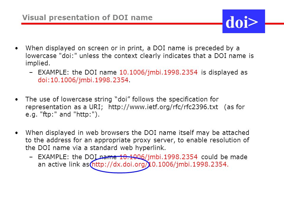 When displayed on screen or in print, a DOI name is preceded by a lowercase doi: unless the context clearly indicates that a DOI name is implied.