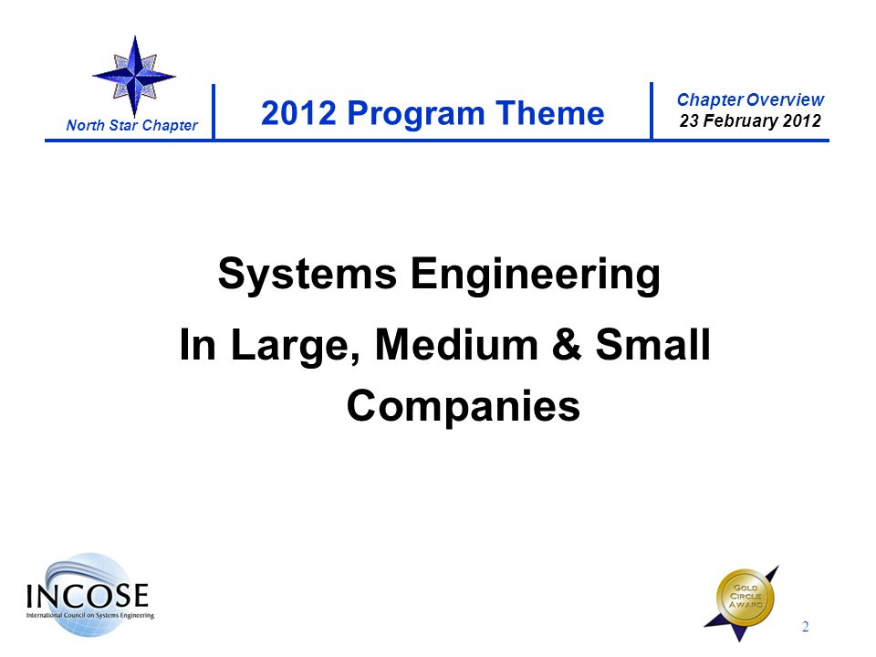 Chapter Overview 23 February 2012 North Star Chapter 2 2012 Program Theme Systems Engineering In Large, Medium & Small Companies