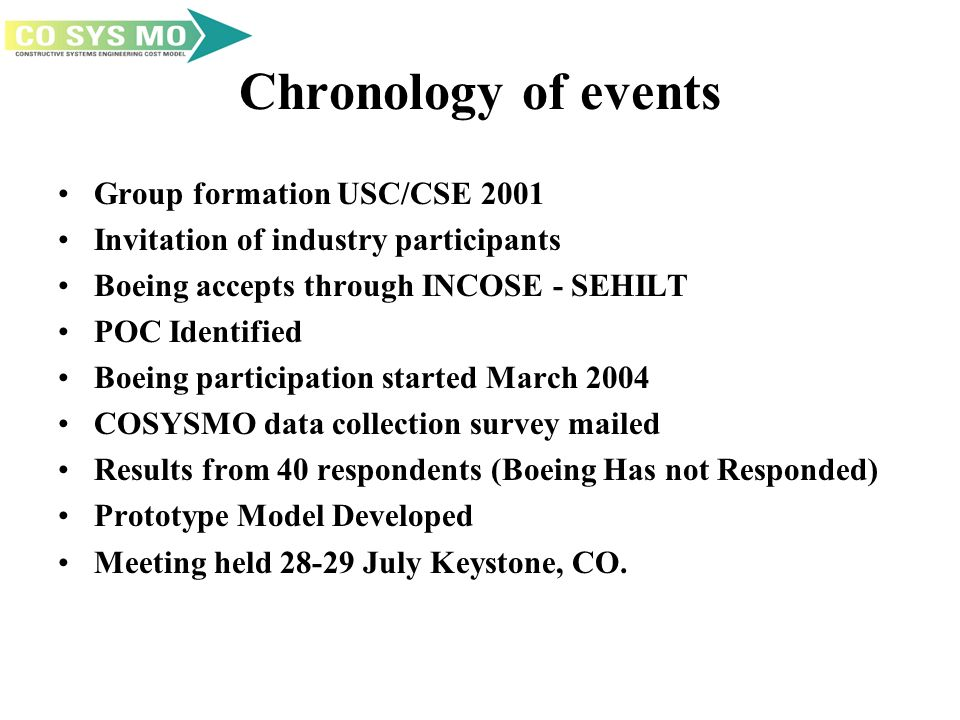 Chronology of events Group formation USC/CSE 2001 Invitation of industry participants Boeing accepts through INCOSE - SEHILT POC Identified Boeing participation started March 2004 COSYSMO data collection survey mailed Results from 40 respondents (Boeing Has not Responded) Prototype Model Developed Meeting held 28-29 July Keystone, CO.
