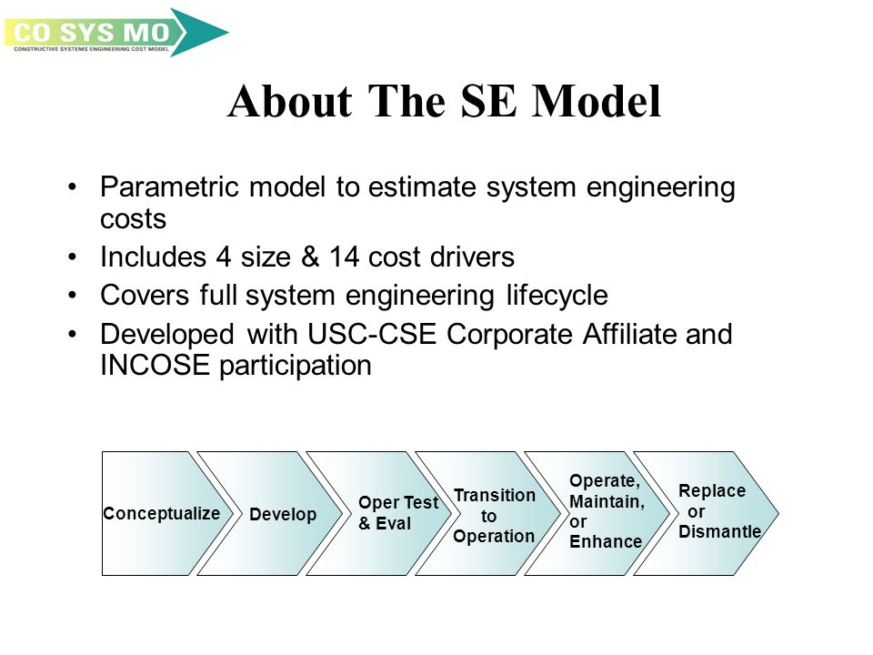 About The SE Model Parametric model to estimate system engineering costs Includes 4 size & 14 cost drivers Covers full system engineering lifecycle Developed with USC-CSE Corporate Affiliate and INCOSE participation Conceptualize Develop Oper Test & Eval Transition to Operation Operate, Maintain, or Enhance Replace or Dismantle