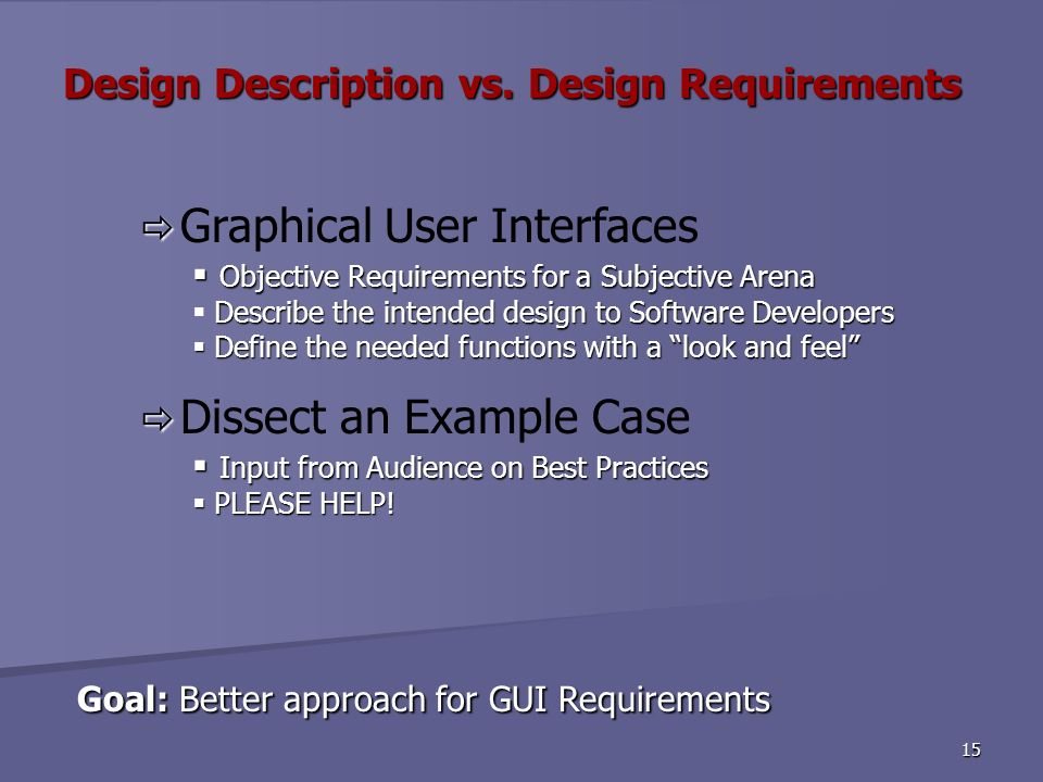 15 Goal: Better approach for GUI Requirements Goal: Better approach for GUI Requirements Graphical User Interfaces Objective Requirements for a Subjective Arena Objective Requirements for a Subjective Arena Describe the intended design to Software Developers Define the needed functions with a look and feel Define the needed functions with a look and feel Dissect an Example Case Input from Audience on Best Practices Input from Audience on Best Practices PLEASE HELP.