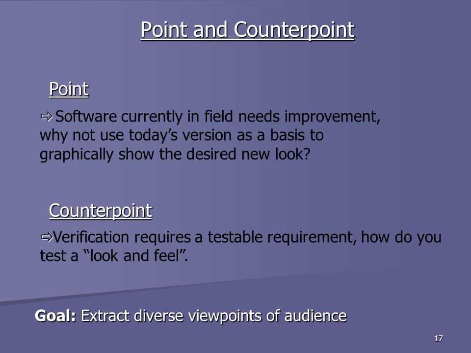 17 Goal: Extract diverse viewpoints of audience Goal: Extract diverse viewpoints of audience Point and Counterpoint Counterpoint Point Verification requires a testable requirement, how do you test a look and feel.