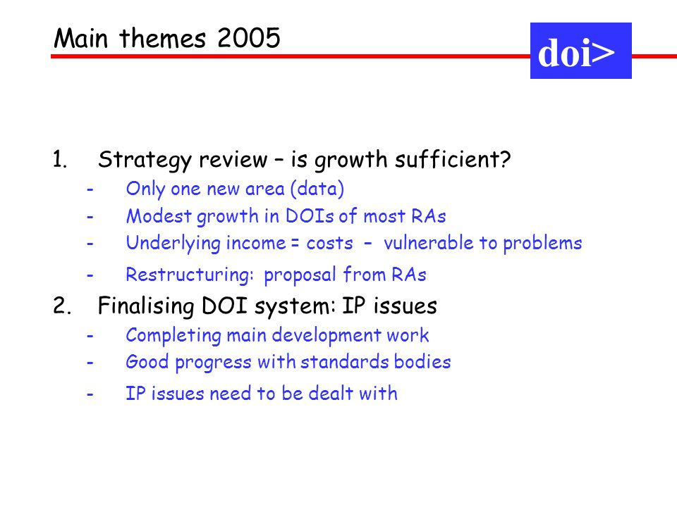 1.Strategy review – is growth sufficient.