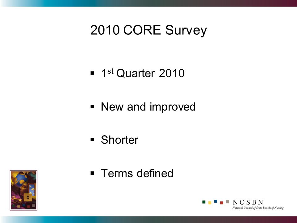 2010 CORE Survey 1 st Quarter 2010 New and improved Shorter Terms defined
