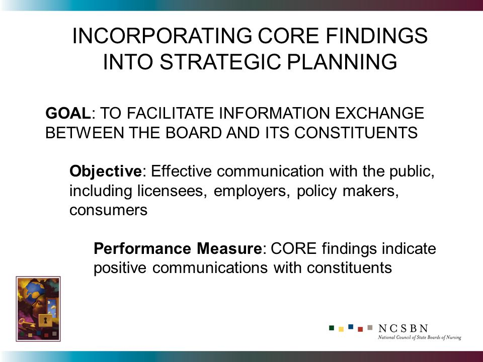 INCORPORATING CORE FINDINGS INTO STRATEGIC PLANNING GOAL: TO FACILITATE INFORMATION EXCHANGE BETWEEN THE BOARD AND ITS CONSTITUENTS Objective: Effective communication with the public, including licensees, employers, policy makers, consumers Performance Measure: CORE findings indicate positive communications with constituents