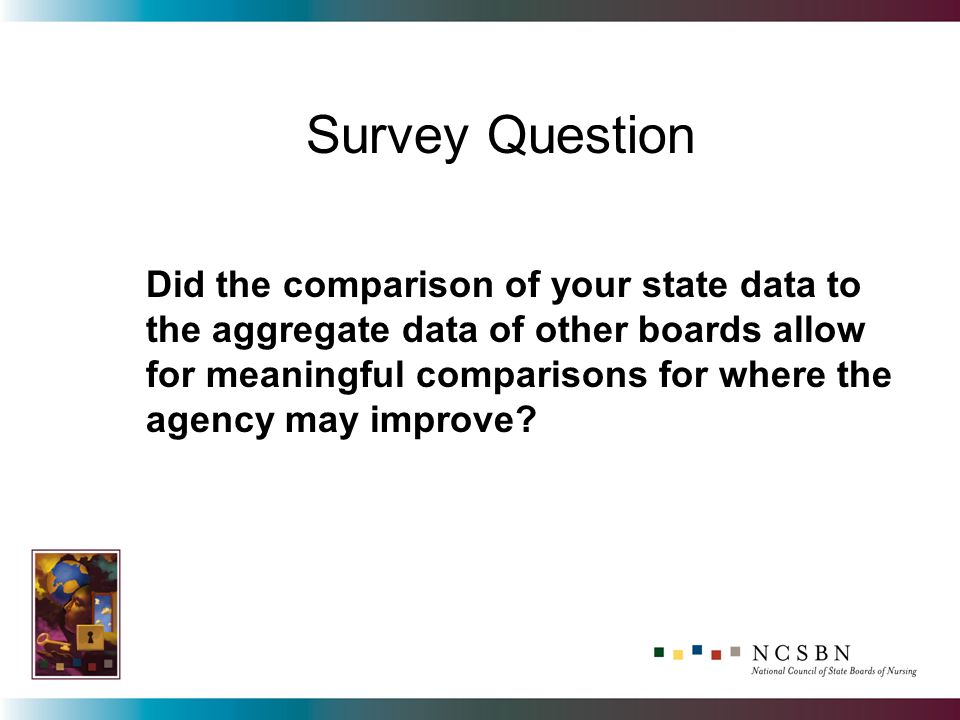 Did the comparison of your state data to the aggregate data of other boards allow for meaningful comparisons for where the agency may improve.