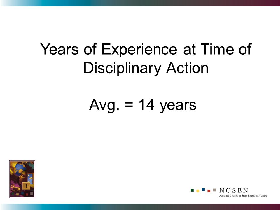 Years of Experience at Time of Disciplinary Action Avg. = 14 years