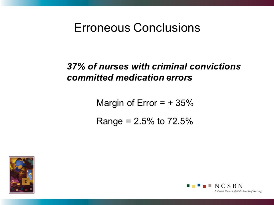 Erroneous Conclusions 37% of nurses with criminal convictions committed medication errors Margin of Error = + 35% Range = 2.5% to 72.5%