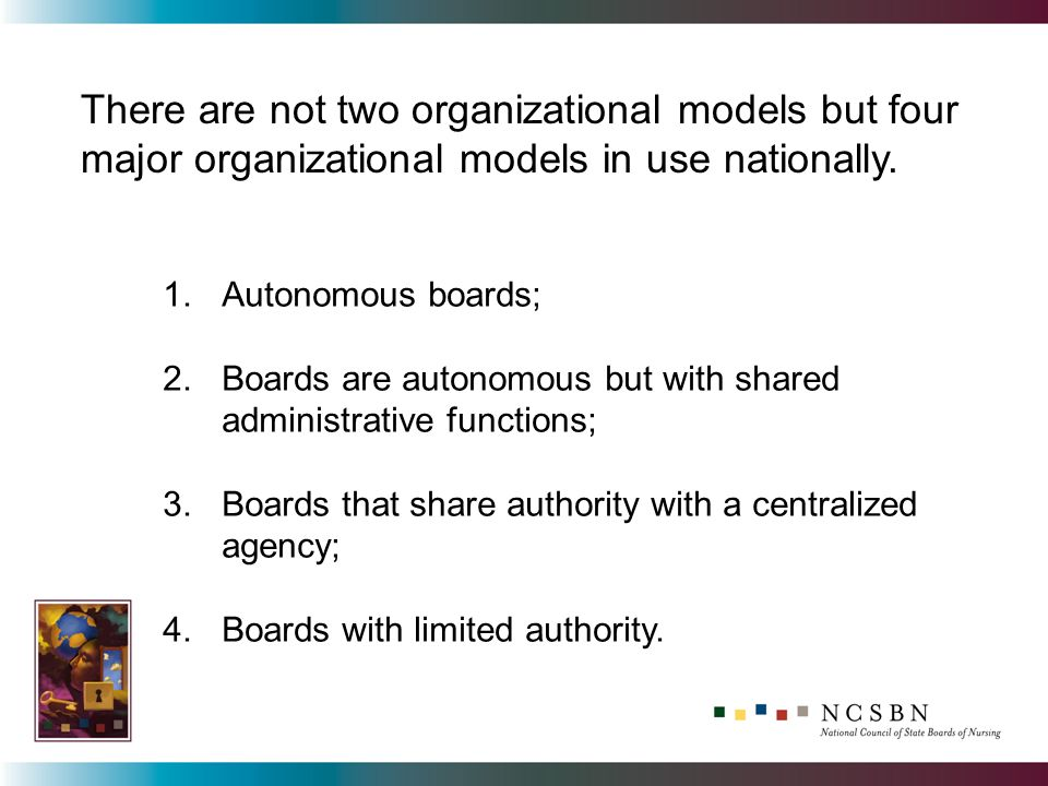 1.Autonomous boards; 2.Boards are autonomous but with shared administrative functions; 3.Boards that share authority with a centralized agency; 4.Boards with limited authority.