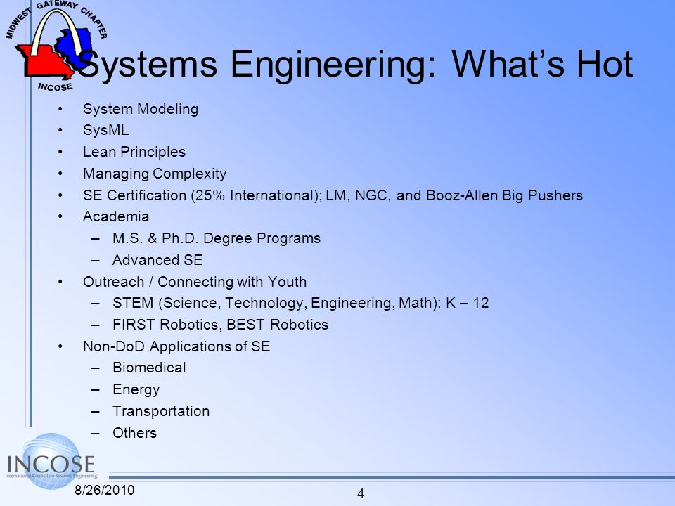 Systems Engineering: Whats Hot System Modeling SysML Lean Principles Managing Complexity SE Certification (25% International); LM, NGC, and Booz-Allen Big Pushers Academia –M.S.