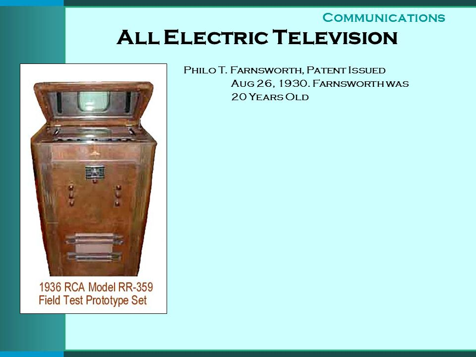 All Electric Television Philo T. Farnsworth, Patent Issued Aug 26, 1930.