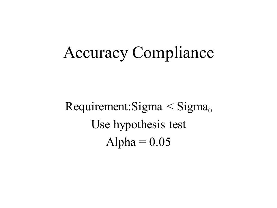 Accuracy Compliance Requirement:Sigma < Sigma 0 Use hypothesis test Alpha = 0.05