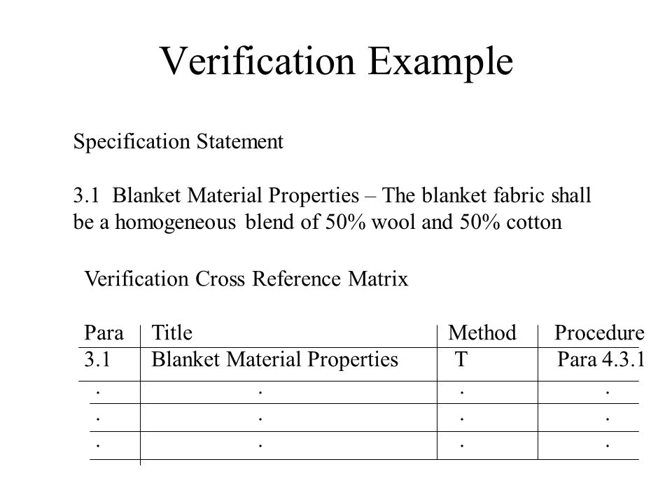 Verification Example Specification Statement 3.1 Blanket Material Properties – The blanket fabric shall be a homogeneous blend of 50% wool and 50% cotton Verification Cross Reference Matrix ParaTitle MethodProcedure 3.1Blanket Material Properties T Para 4.3.1....