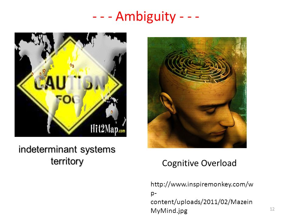 - - - Ambiguity - - - http://www.inspiremonkey.com/w p- content/uploads/2011/02/Mazein MyMind.jpg Cognitive Overload indeterminant systems territory 12