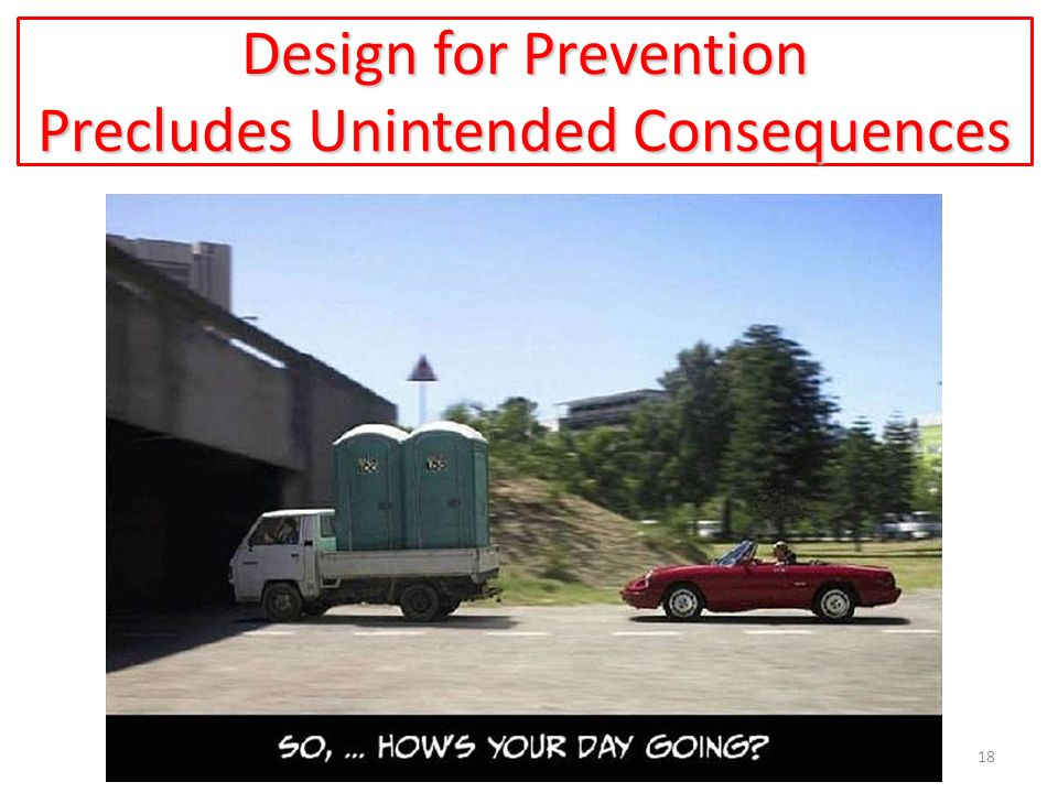 Design for Prevention Precludes Unintended Consequences 18
