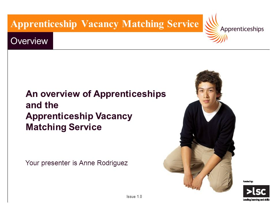 Overview An overview of Apprenticeships and the Apprenticeship Vacancy Matching Service Your presenter is Anne Rodriguez Issue 1.0 Apprenticeship Vacancy Matching Service