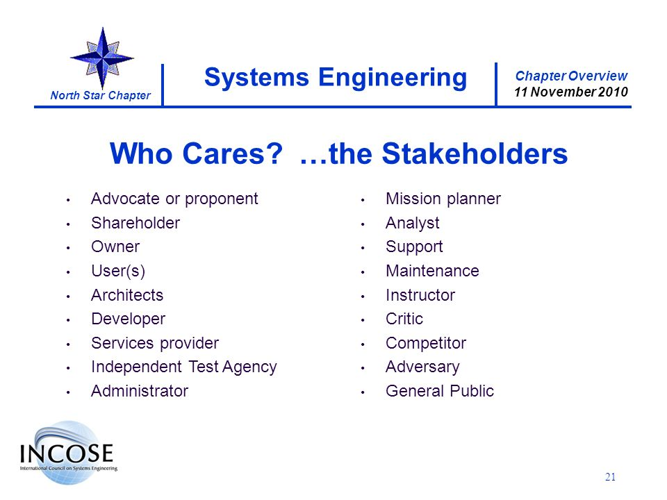 Chapter Overview 11 November 2010 North Star Chapter 21 Systems Engineering Who Cares.