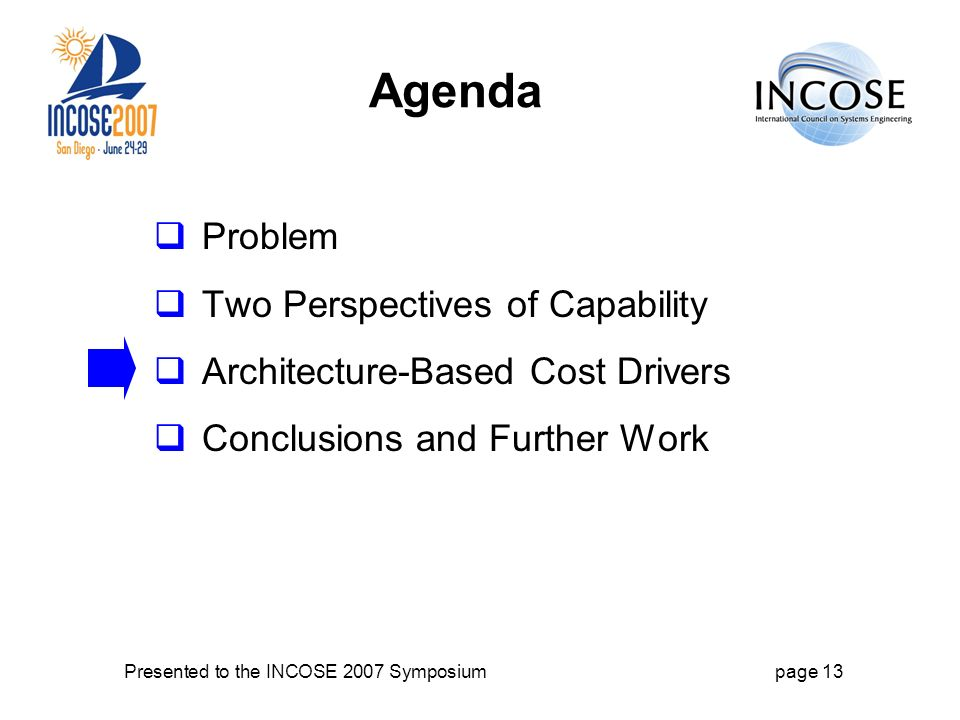 Presented to the INCOSE 2007 Symposiumpage 13 Agenda Problem Two Perspectives of Capability Architecture-Based Cost Drivers Conclusions and Further Work