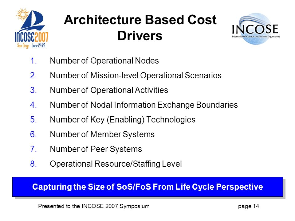 Presented to the INCOSE 2007 Symposiumpage 14 Architecture Based Cost Drivers 1.Number of Operational Nodes 2.Number of Mission-level Operational Scenarios 3.Number of Operational Activities 4.Number of Nodal Information Exchange Boundaries 5.Number of Key (Enabling) Technologies 6.Number of Member Systems 7.Number of Peer Systems 8.Operational Resource/Staffing Level Capturing the Size of SoS/FoS From Life Cycle Perspective