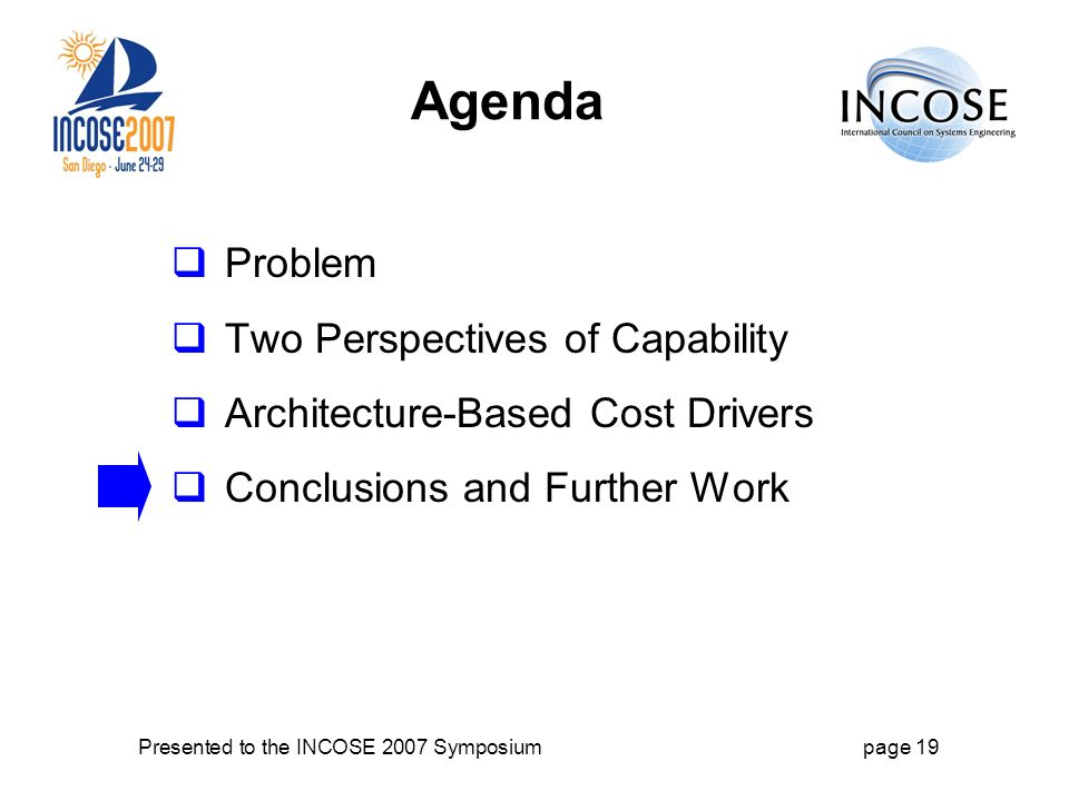 Presented to the INCOSE 2007 Symposiumpage 19 Agenda Problem Two Perspectives of Capability Architecture-Based Cost Drivers Conclusions and Further Work