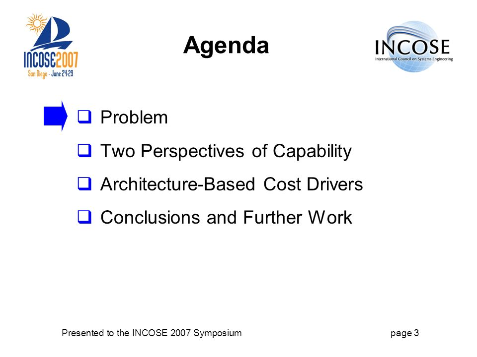Presented to the INCOSE 2007 Symposiumpage 3 Agenda Problem Two Perspectives of Capability Architecture-Based Cost Drivers Conclusions and Further Work
