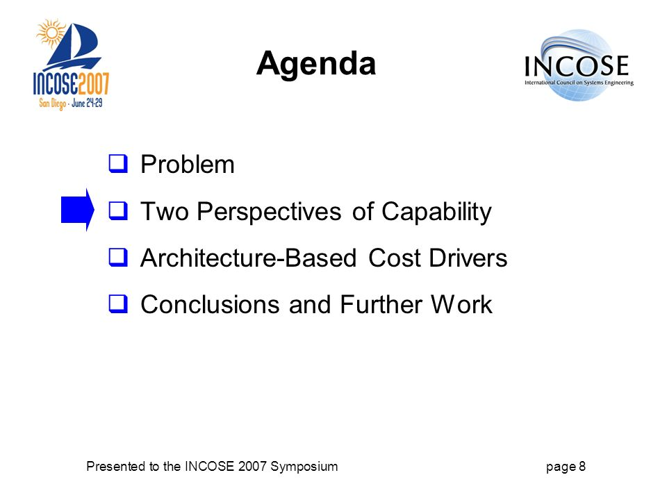 Presented to the INCOSE 2007 Symposiumpage 8 Agenda Problem Two Perspectives of Capability Architecture-Based Cost Drivers Conclusions and Further Work